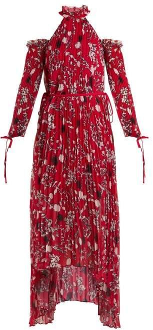 Self-Portrait Self Portrait Floral Print Pleated Midi Dress - Womens - Red Multi
