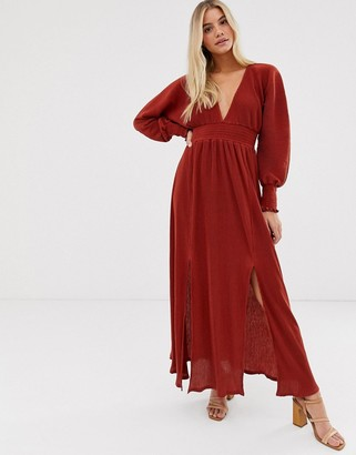 ASOS DESIGN maxi plisse dress with shirred waist and splits