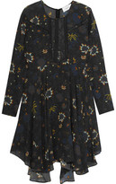 A.L.C. Lace-Paneled Printed Silk-Crepe Mini Dress