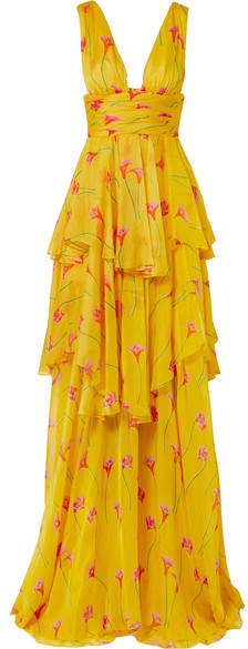 Caroline Constas Paros Ruffled Tiered Printed Silk-chiffon Gown - Yellow