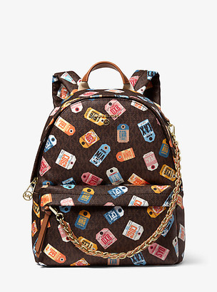 MICHAEL Michael Kors MK Slater Medium Printed Logo Backpack - Brown Multi - Michael Kors