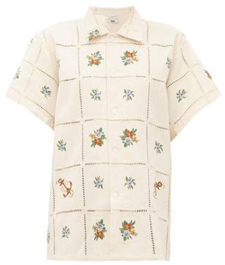 BEIGE Bode - Needle-point Floral-embroidered Cotton Shirt - Womens