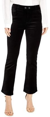 Paige Claudine w/ Double Button + Joxxi Pockets (Black Overdye Velvet) Women's Jeans