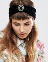 Asos Velvet Brooch Turban Headband