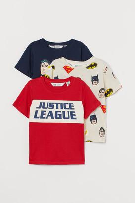H&M 3-pack Printed T-shirts - Beige