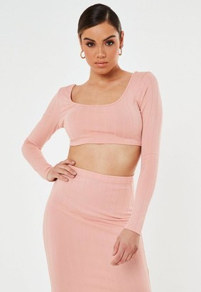 Missguided Pink Co Ord Bandage Scoop Neck Crop Top