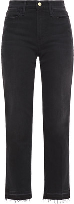 Frame Le High Straight Frayed High-rise Straight-leg Jeans