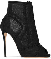 Dolce & Gabbana Embroidered Mesh And Suede Peep-toe Ankle Boots - Black