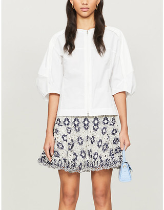 Sandro Floral-embroidered cotton-blend mini skirt