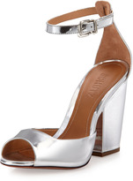 Anete Mirror-Leather Sandal, Prata