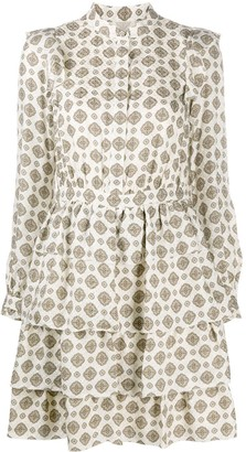 MICHAEL Michael Kors Geometric-Print Ruffled Dress