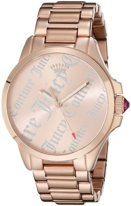 Juicy Couture Jetsetter Women's Quartz Watch with Gold Dial Analogue Display and Rose Gold Bracelet 1901278