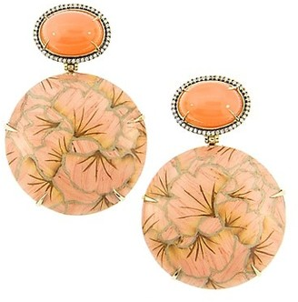 Silvia Furmanovich Marquetry 18K Yellow Gold, Honey Moonstone, Light Brown Diamonds & Wood Pink Flower Drop Earrings