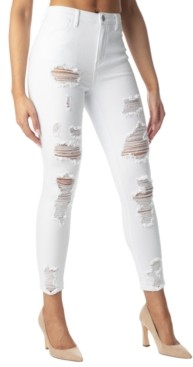 Almost Famous Juniors' Destructed High-Rise Ankle Jeans