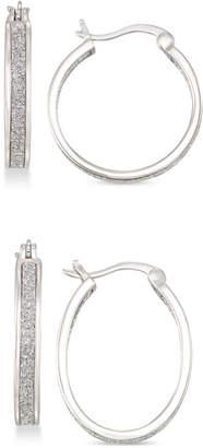 Simone I. Smith Glitter Hoop Earrings Set in 18k Gold Over Sterling Silver or Sterling Silver