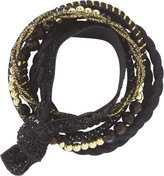 Scunci Variety Sized Multi Styled Ponytailers in Black w/ Gold & Silver