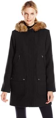 Fleet Street Ltd. Women's Wool Coat with Faux Fur Trim Hood
