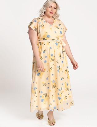 ELOQUII Printed Flutter Sleeve Wrap Dress
