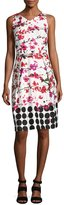 David Meister Sleeveless Floral Stretch Sheath Dress, White/Red