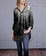 Silver & Black Floral Lace-Hem Tunic - Plus Too