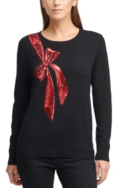 DKNY Sequin Bow Sweater