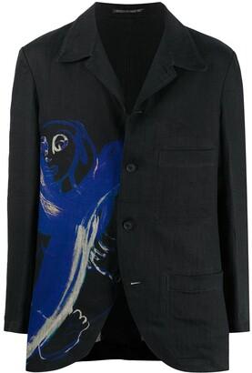 Yohji Yamamoto Graphic Print Single-Breasted Blazer