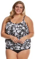 Penbrooke Plus Size White Snow Blouson Tankini Top 8150473