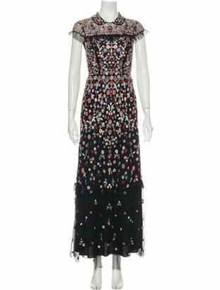 Needle & Thread Floral Print Long Dress Black