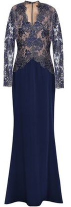 Reem Acra Paneled Metallic Lace And Silk-crepe Gown