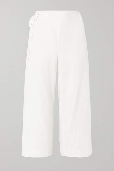 Vince Cropped Wrap-effect Cotton-twill Wide-leg Pants - Off-white