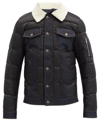 Balmain Faux-shearling Collar Quilted Down Jacket - Black