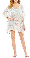 Gianni Bini Ikat Kaftan Tassel Hem Cover-Up