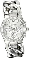 SO&CO New York Women's 5013A.1 SoHo Quartz Crystal Accent Multifunction Luminous Hands Stainless Steel Chain Link Bracelet Watch