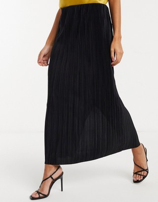 Weekday Wass pleated midi skirt in black