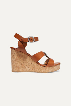 Jimmy Choo Aleili 100 Leather Wedge Sandals - Tan