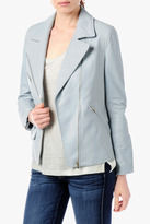 7 For All Mankind Leather Moto Jacket In Glacier Grey