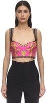 Versace Printed Silk Twill & Lace Crop Top