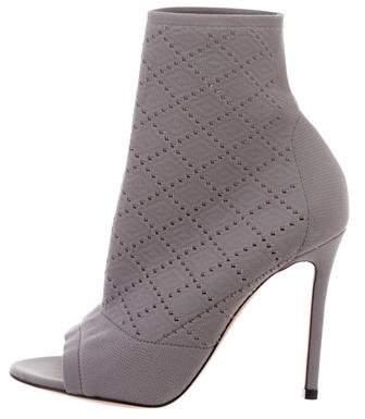 Gianvito Rossi Knit Peep-Toe Boots
