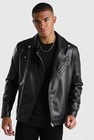 boohoo Mens Black Leather Look Biker Jacket, Black