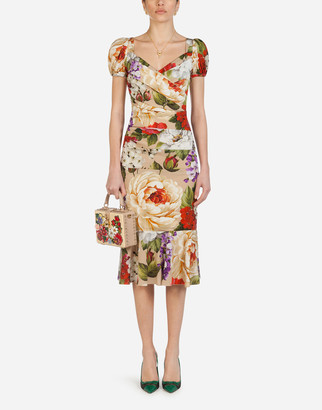 Dolce & Gabbana Short-Sleeved Longuette Dress In Charmeuse With Beige Floral Print