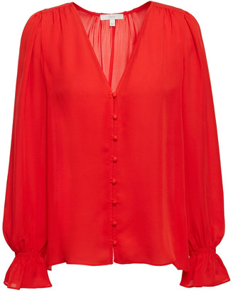 Joie Bolona Shirred Silk-chiffon Blouse