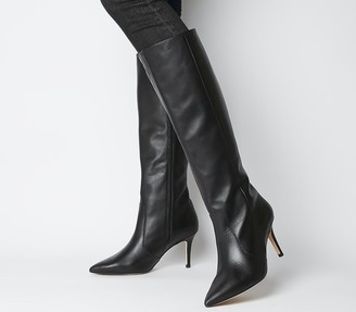 Office Keep up Stiletto Knee Boots Black Leather
