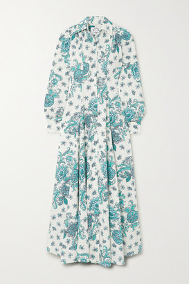 Evi Grintela Jasmine Pleated Floral-print Cotton-poplin Maxi Dress - Green