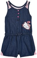 Hello Kitty Laced Romper (Toddler/Kids) - Medium Dark Chambray-2T