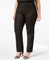 Charter Club Plus Size Metallic Jacquard Ankle Pants, Only at Macy's
