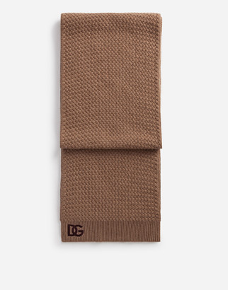 Dolce & Gabbana Cashmere Scarf With Embroidered Logo