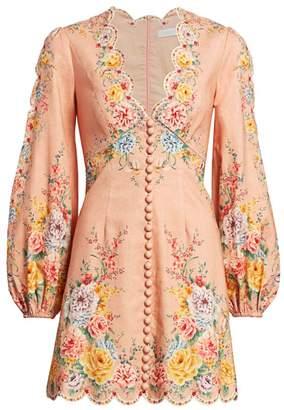 Zimmermann Zinnia Scalloped Puff-Sleeve Mini Dress