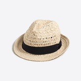 J.Crew Factory Straw fedora with ribbon