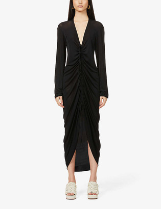 Bottega Veneta Ruched stretch-knit midi dress