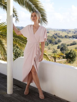 Forever New Jasmine Batwing Wrap Midi Dress - Nude - 10